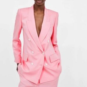 Pink Zara double breasted suit NWT